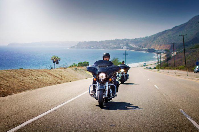 Harley Davidson Grand Touring motorcycle on the road