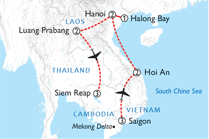 Highlights of Indochina Map