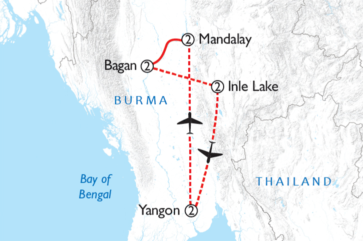 Highlights of Myanmar Map
