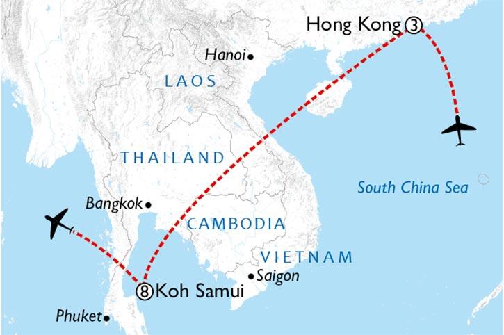 Hong Kong And Koh Samui Sunsets Map