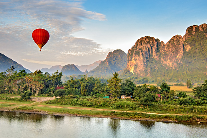 Hot Air Balloon at Sunrise Vang Vieng Laos