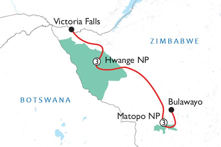Hwange & Matopos Map