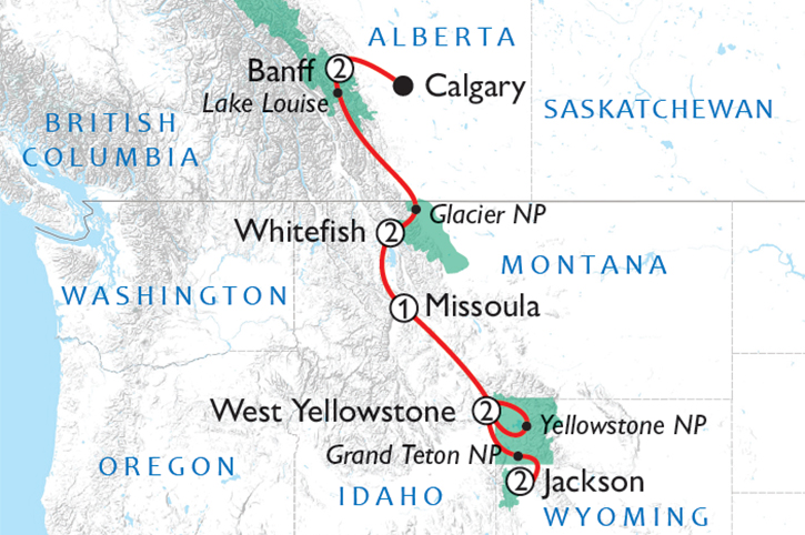 Iconic Rockies National Parks Tour Map