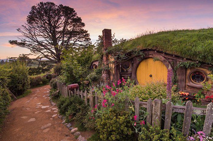 Hobbiton Movie Set at Sunset