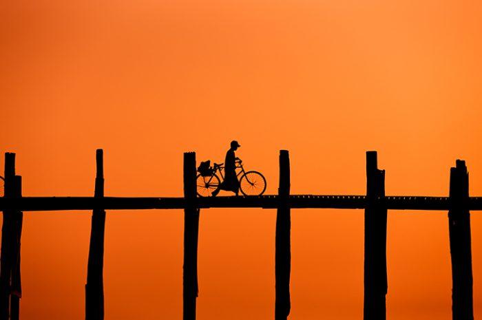 Burmese Man Crossing U Bein Bridge