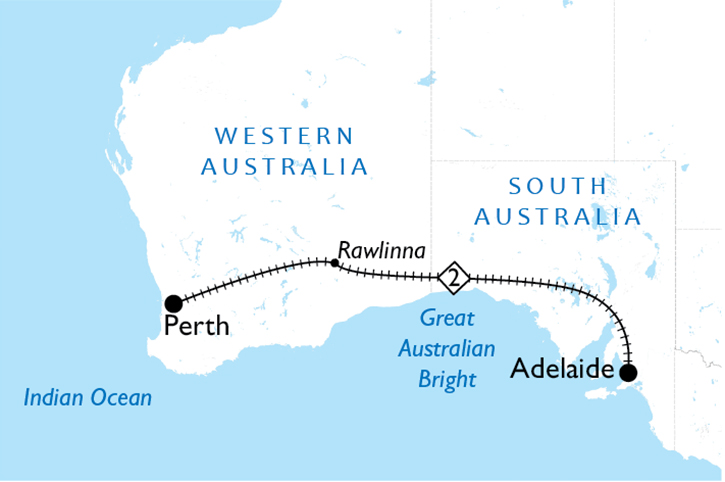 Indian Pacific Adelaide to Perth Map