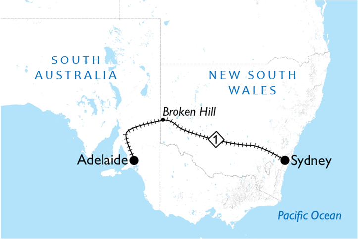 Indian Pacific Adelaide to Sydne Map