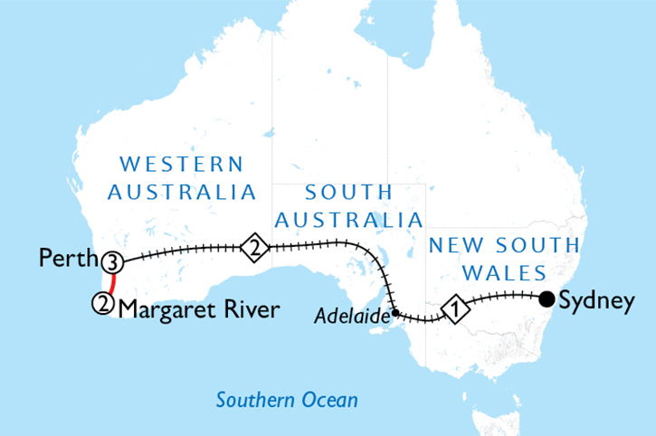 Indian Pacific Indulgence Map