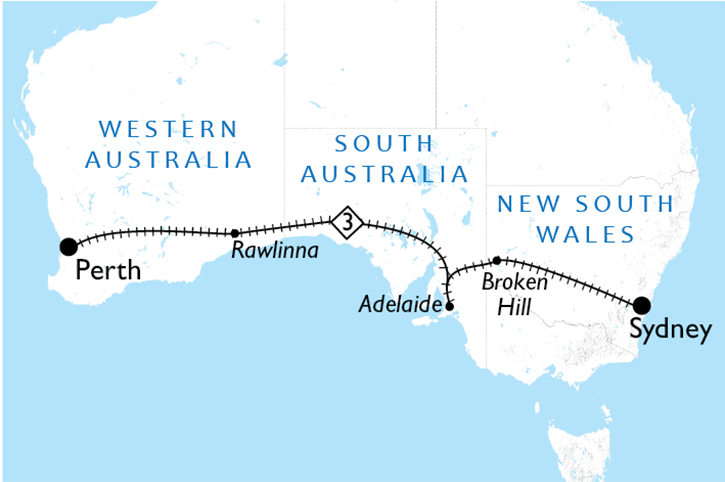 Indian Pacific Sydney to Perth Map