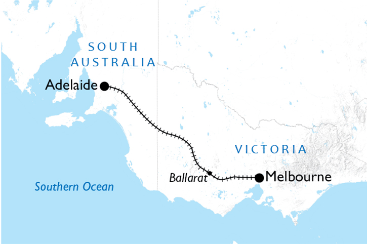 Intercity Adelaide to Melbourne Map