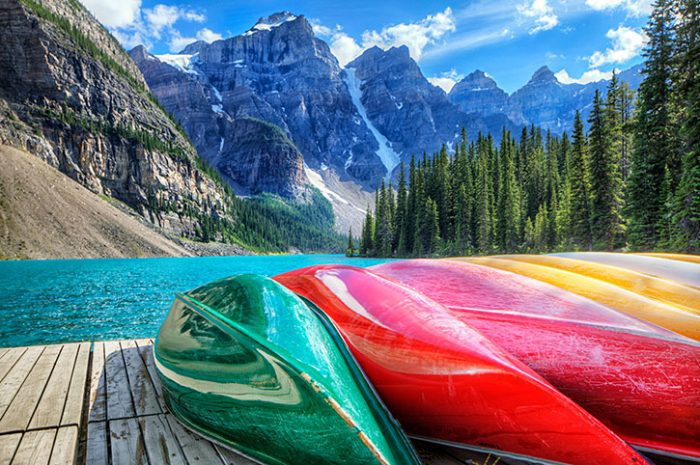 Kayaks on the Moraine Lake