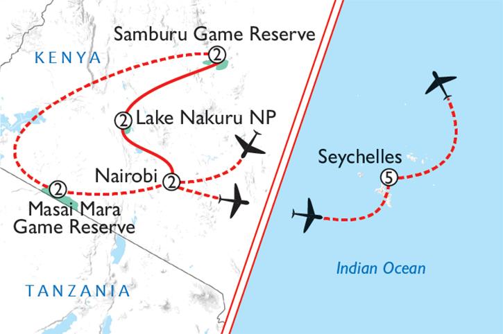 Kenya & Seychelles Map
