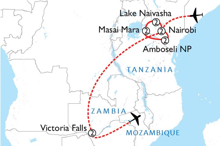 Kenya & Victoria Falls Map