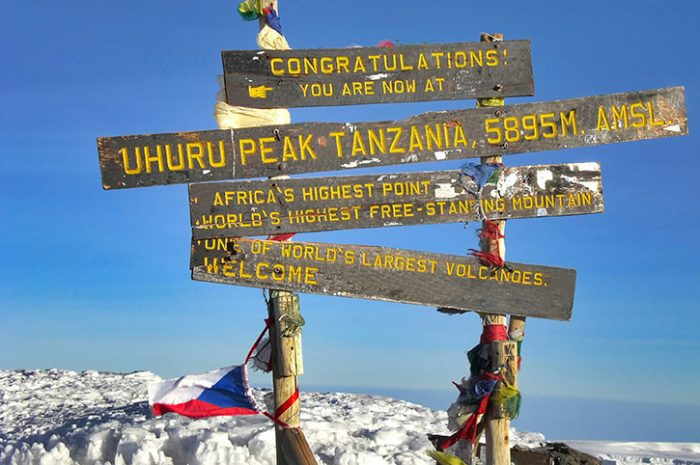 Kilimanjaro summit sign