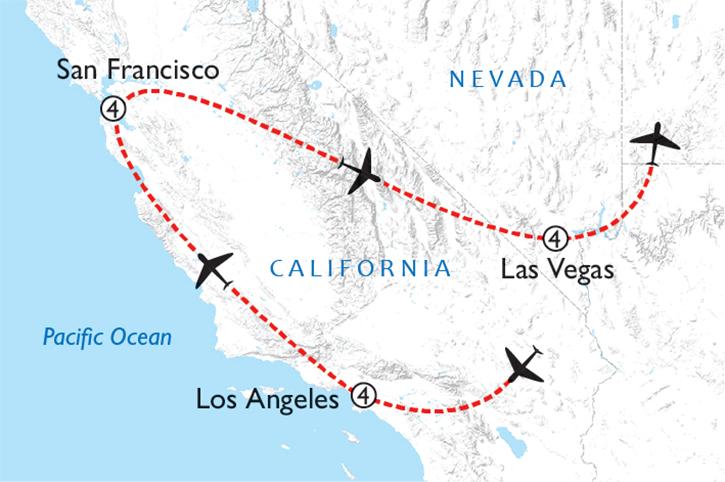 L.A., San Fran & Vegas Map