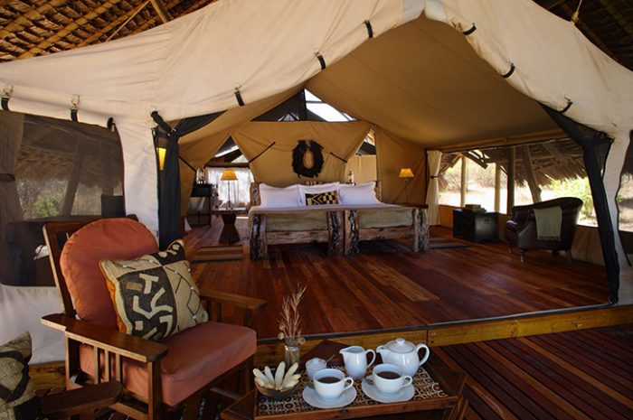 Luxurious tents at Jongomero