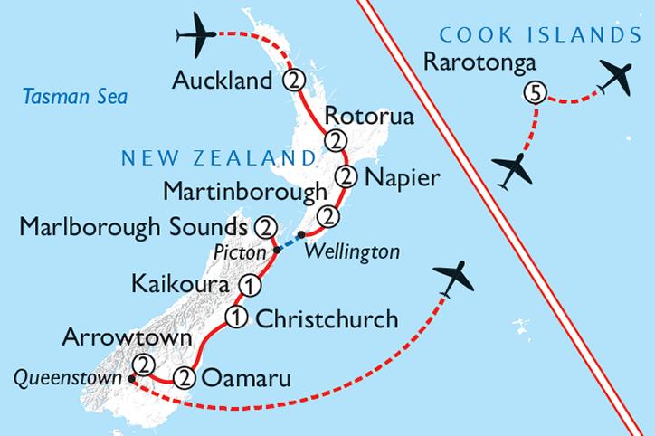 Luxury New Zealand & Cook Islands Map