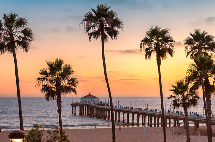 Manhattan Beach at sunset in California, Los Angeles,