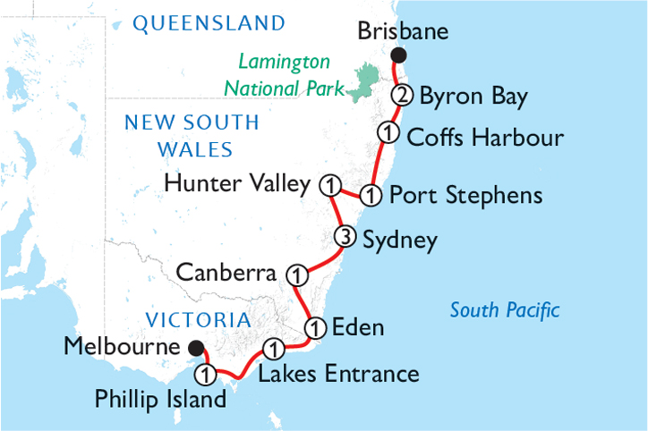 Melbourne to Brisbane Road Trip Map
