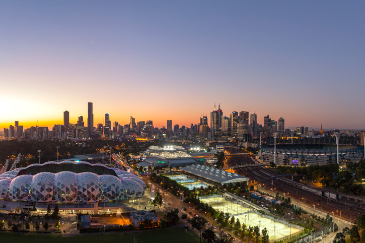 Melbourne's Sports Precinct at dusk