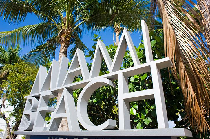 Miami Beach sign, Florida, USA
