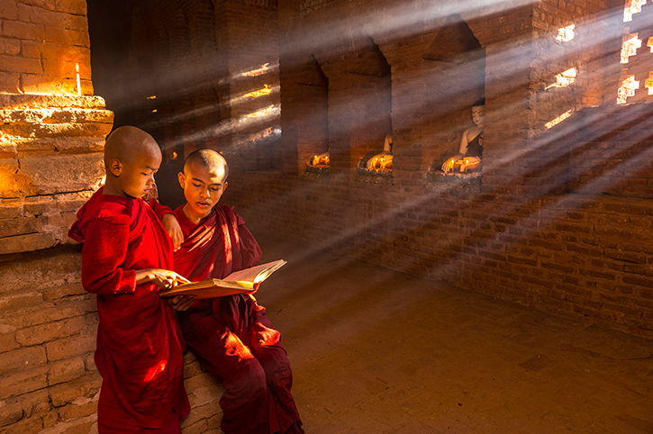 Monks in Burma Temple