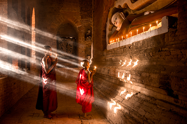 Monks in Burma Temple