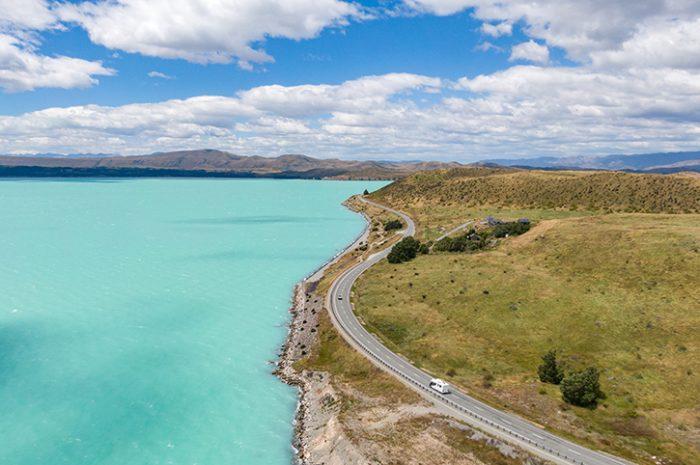 Motorhome driving beside Lake Pukaki