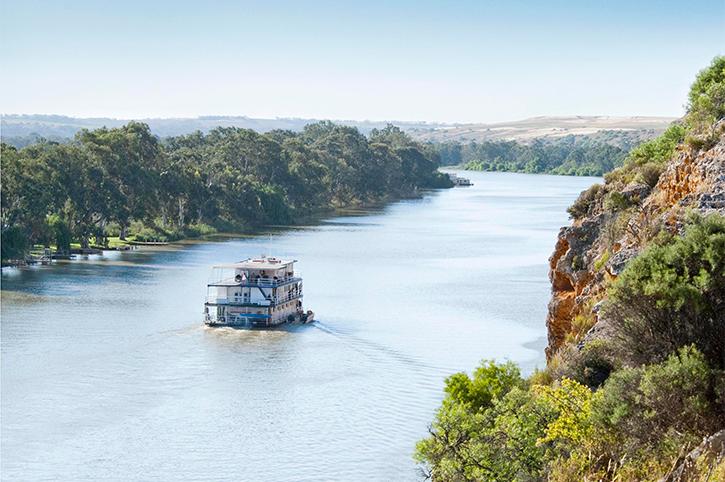 Boat Cruising Along the Murray River