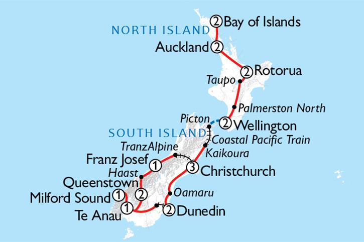 NZ Rail Cruise & Coach Map