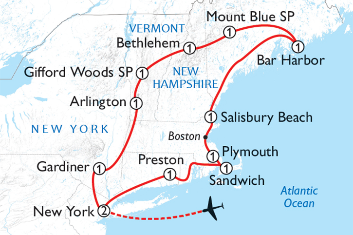 New England Motorhome Map