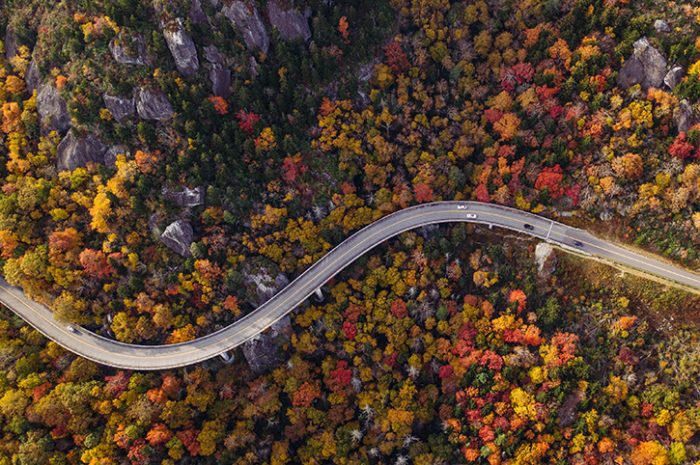 A winding road in New England