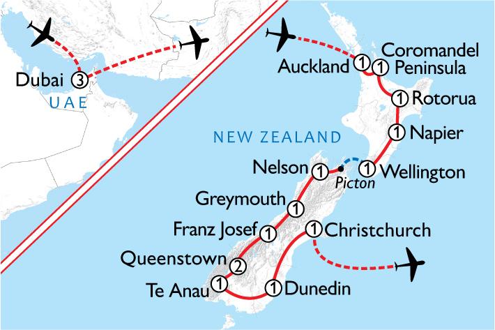 New Zealand & Dubai Map