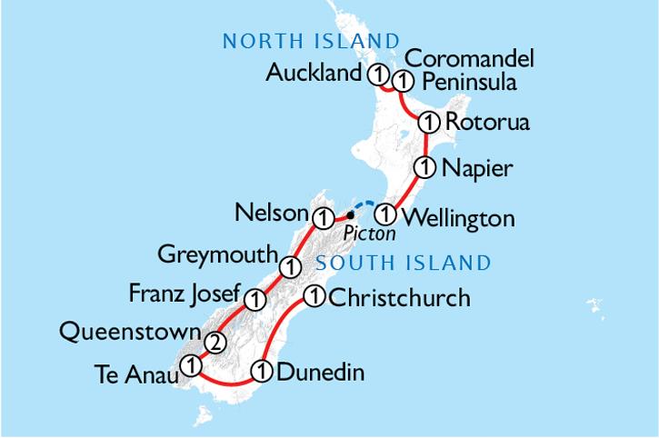 New Zealand Grand Tour Map