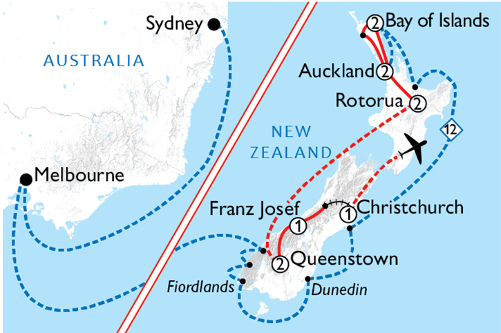 New Zealand by Cruise & Coach Map