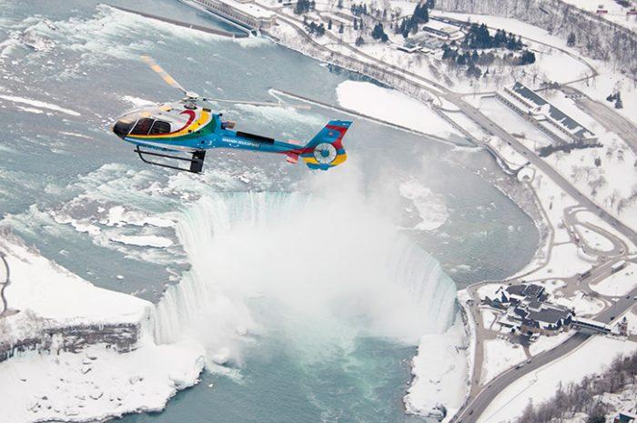 Winter helicopter flight, Niagara Falls