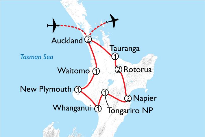 North Island by Motorhome Map