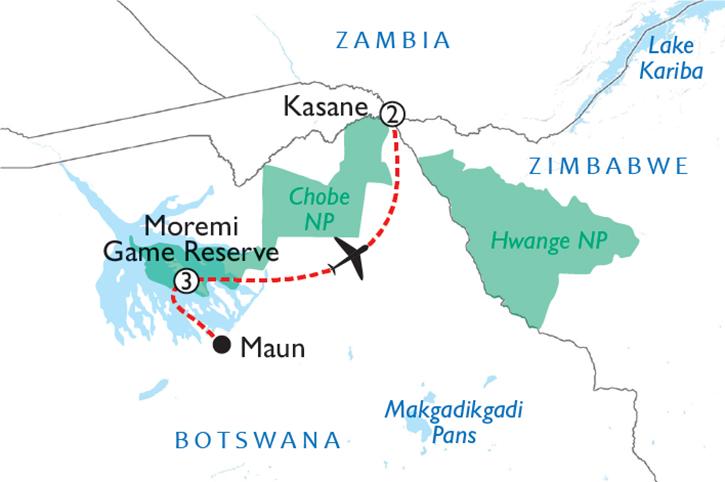 Okavango & Chobe Adventure Map