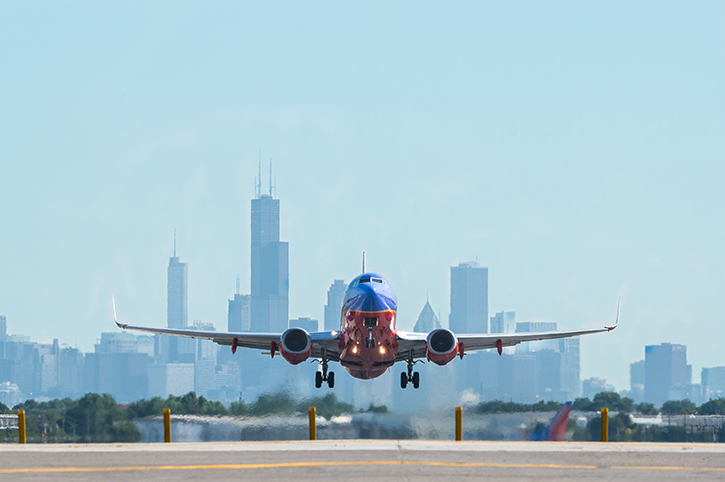 Aeroplane taking off at Chicago Airport