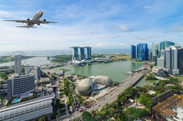 Plane Flying Over Singapore