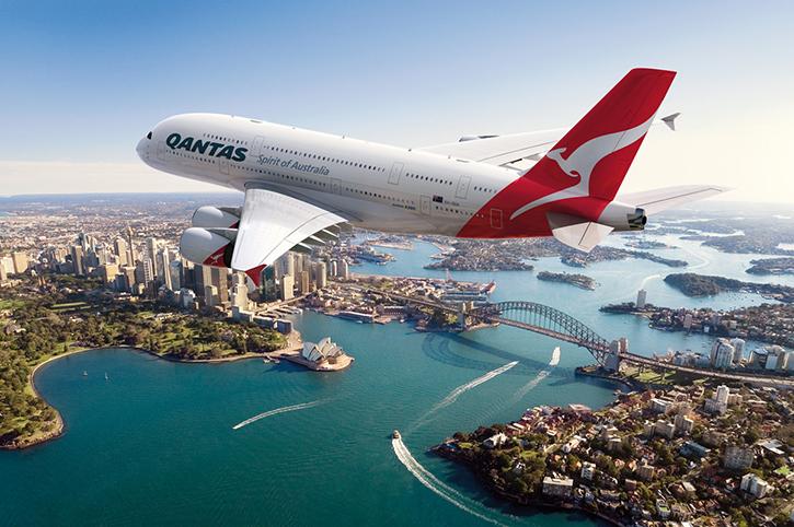 Qantas A380 Over Sydney, Australia