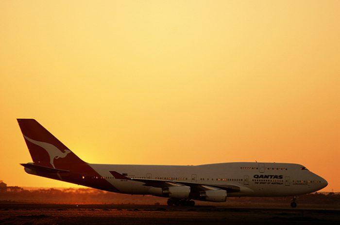 Qantas Plane At Sunset, Australia