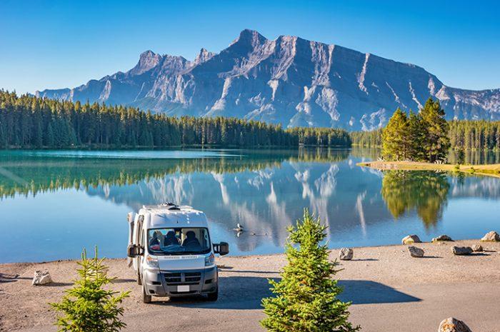 Campervan, Two Jack Lake, Banff National Park