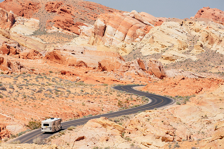 Motorhome Driving Along Road