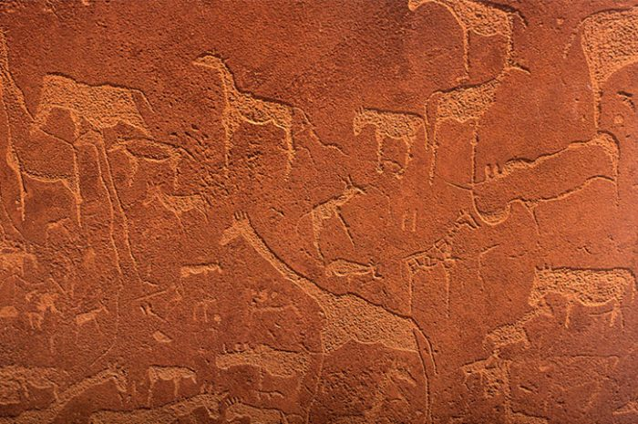 Rock Carving Of Animals, Namibia