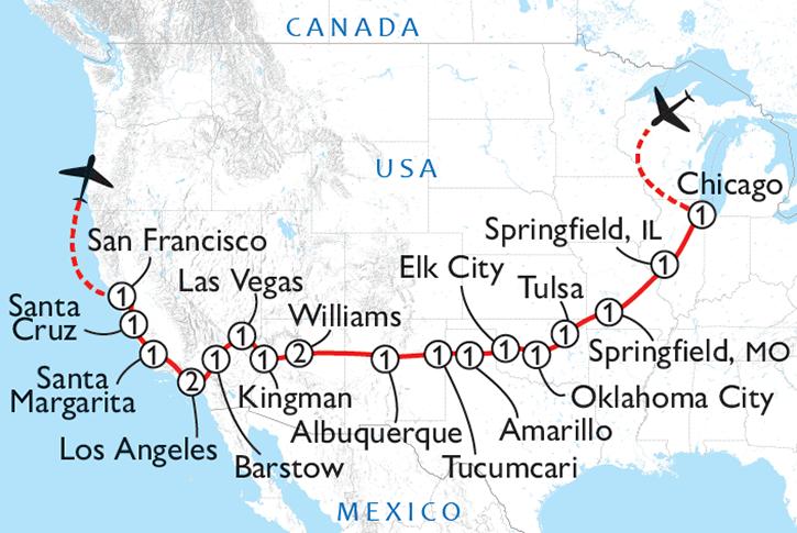 Route 66 & California Coast Map