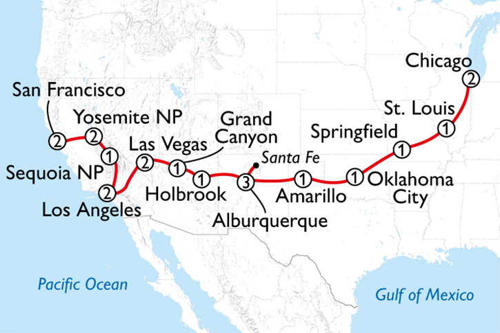 Route 66 & National Parks Map