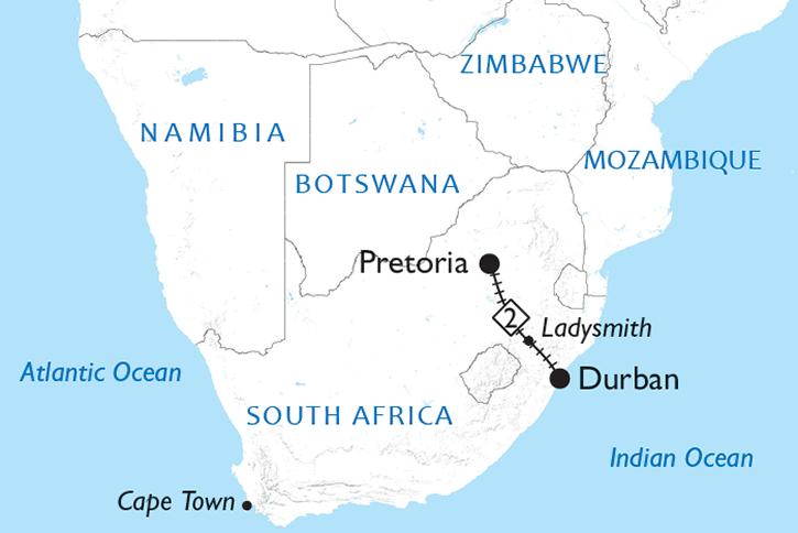 Rovos Rail Pretoria to Durban Map