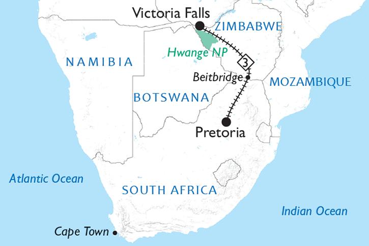 Rovos Rail Pretoria to Victoria Falls Map