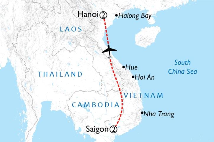 Saigon And Hanoi Map